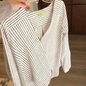 Gianni Bono black and white striped crossover top